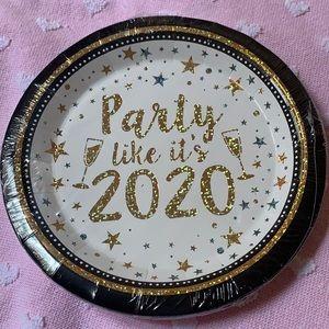 10 pcs Happy New Year Paper Plates Party Decor